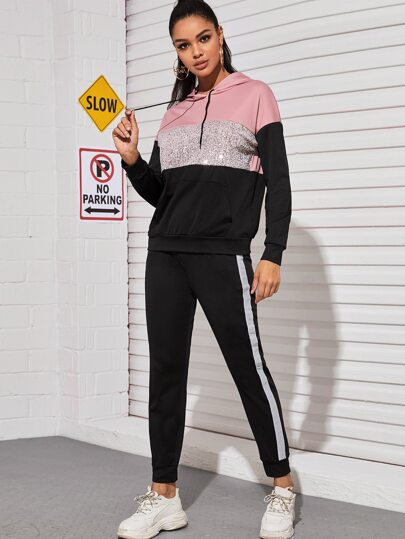 Contrast Sequin Panel Drawstring Hoodie & Sweatpants