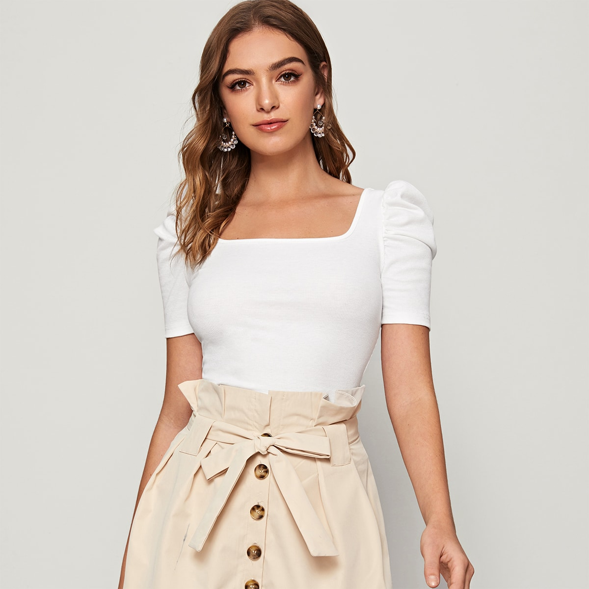 Square Neck Puff Sleeve Fitted Tee