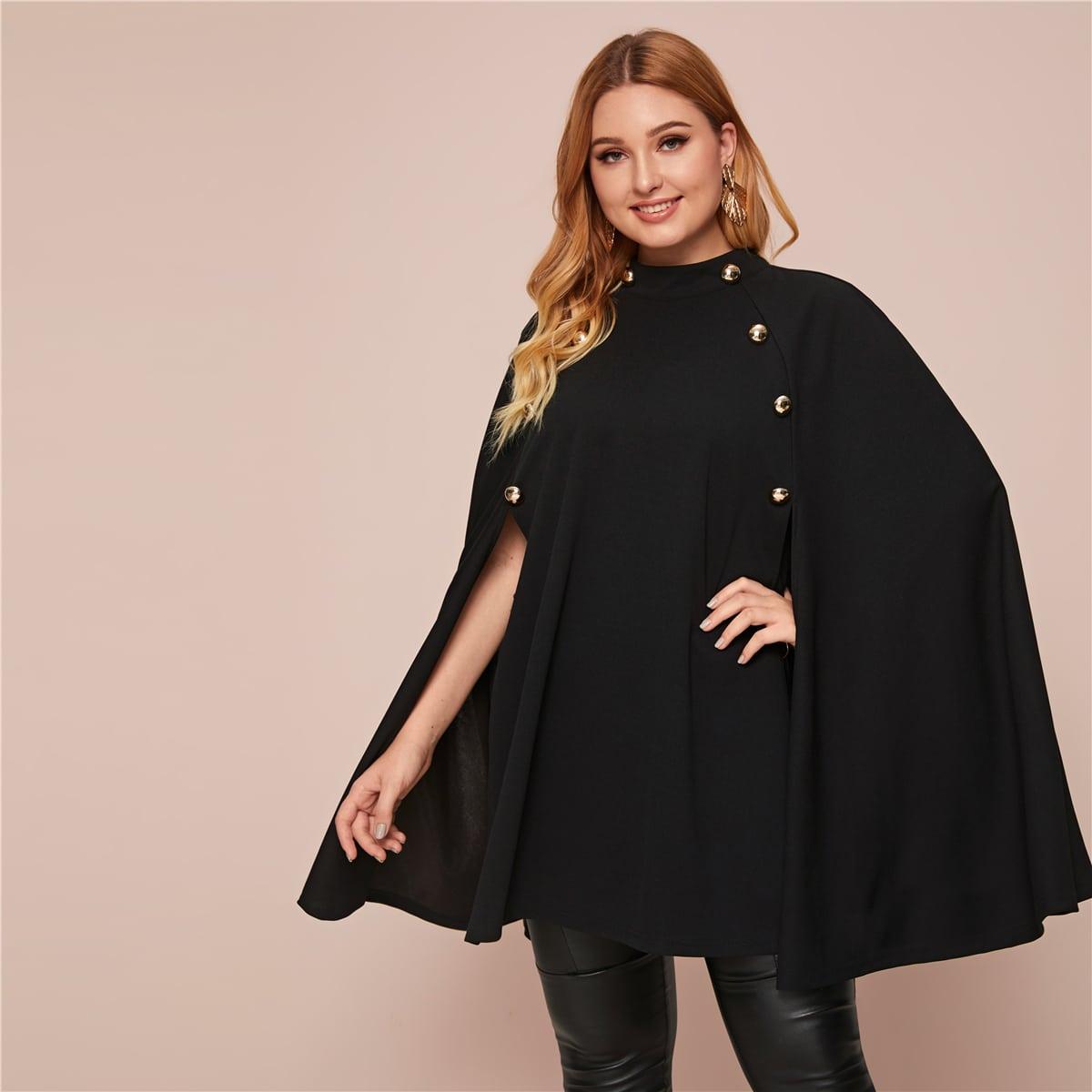 Пальто размера плюс с пуговицами и воротником-стойкой