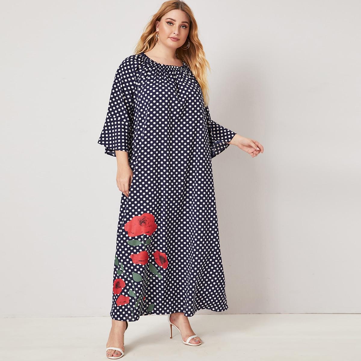 Цветочное платье размера плюс в горошек с рукавом реглан