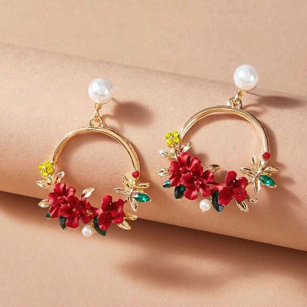 1pair Faux Pearl Decor Flower Hoop Drop Earrings, Multicolor
