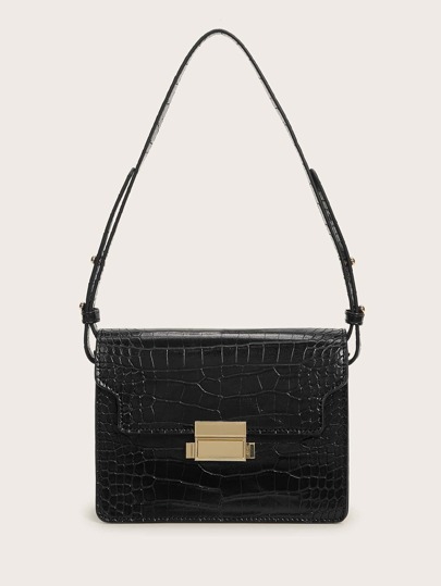 Metal Lock Croc Embossed Flap Tote Bag