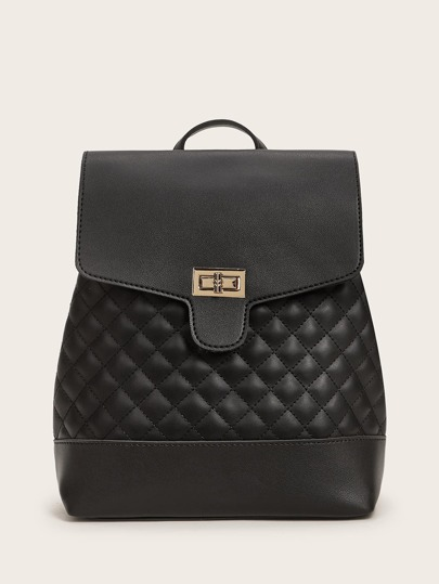 Twist Lock Quilted Backpack