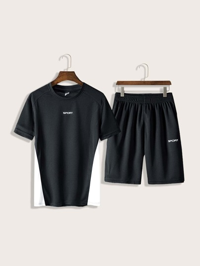 Men Letter Graphic Tee & Track Shorts