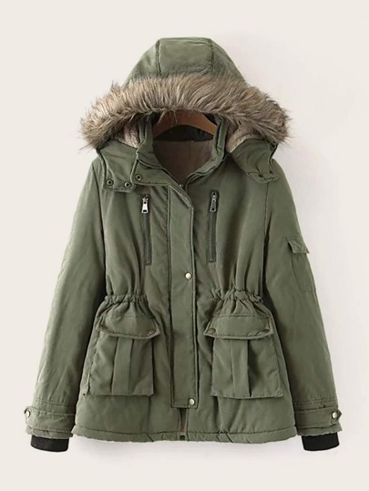 Zip Up Sherpa Lined Hooded Parka Coat