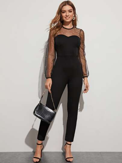 Pearls Beaded Contrast Mesh Jumpsuit