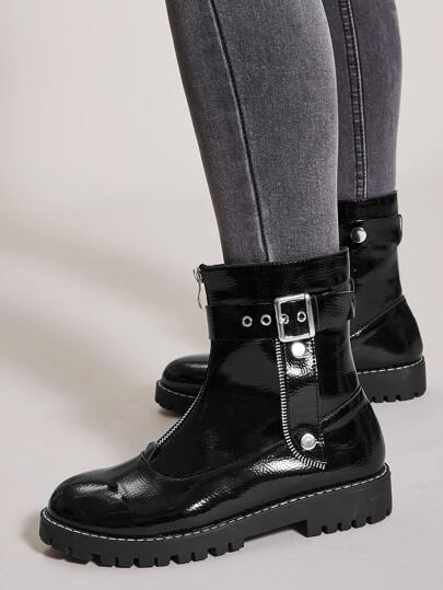 Buckle Decor Zip Front Ankle Boots