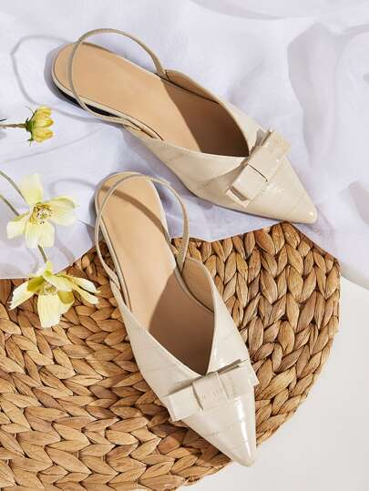 Bow Decor Point Toe Slingback Flats