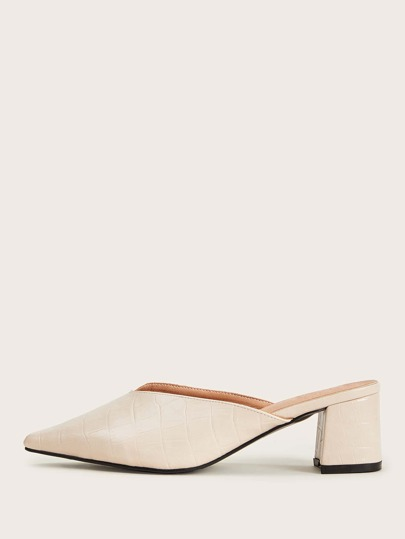 Croc Embossed Point Toe Chunky Heeled Mules