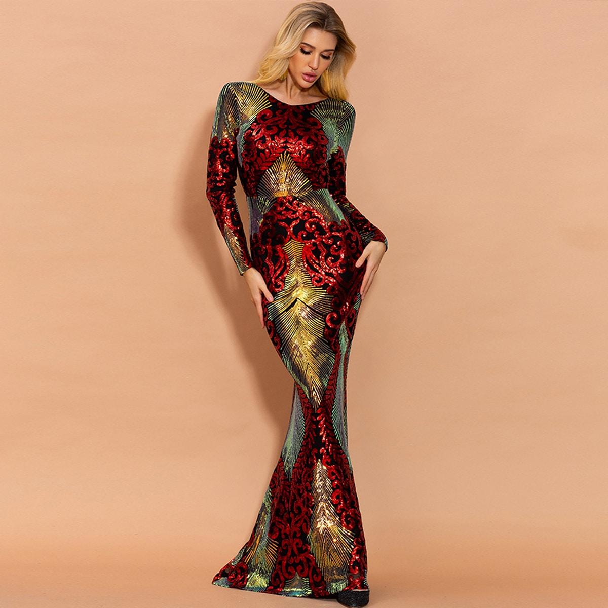 контрастное блестящее платье с круглым разрезом