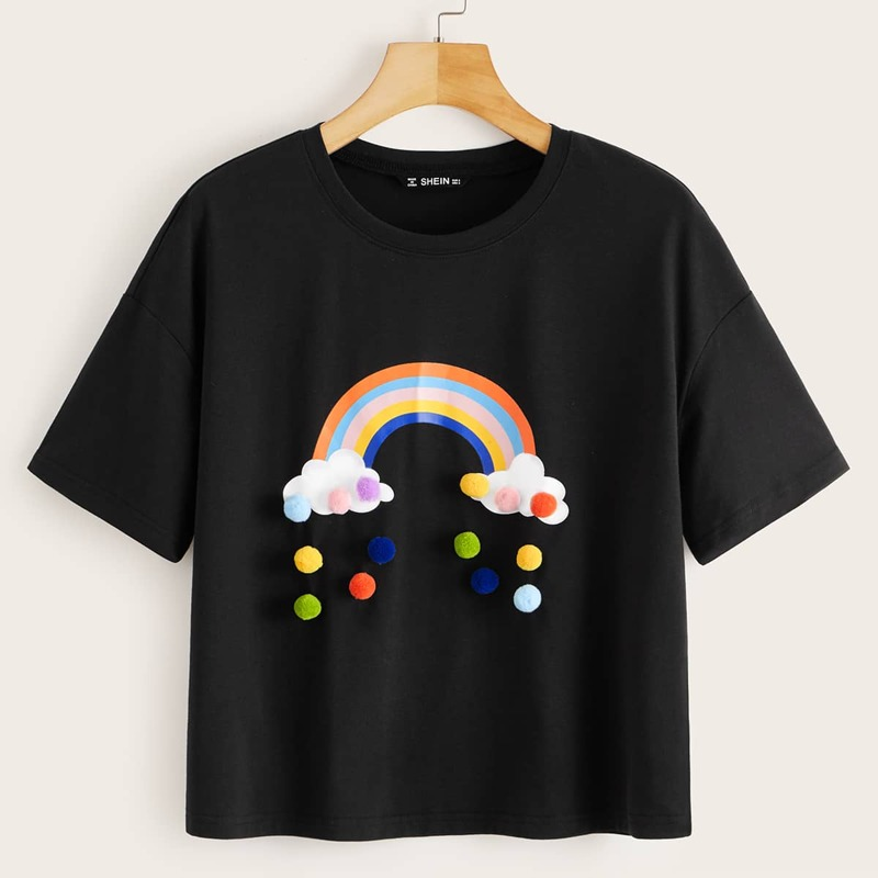 Pom Pom Applique Rainbow Tee, Black
