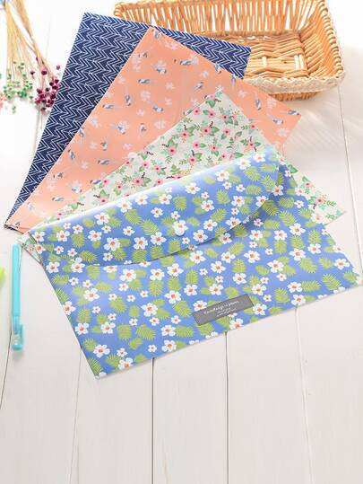 1pc Floral Overlay Print File Bag