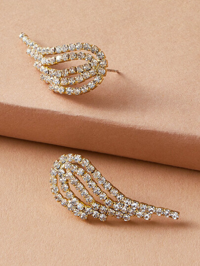1pair Rhinestone Engraved Wing Stud Earrings