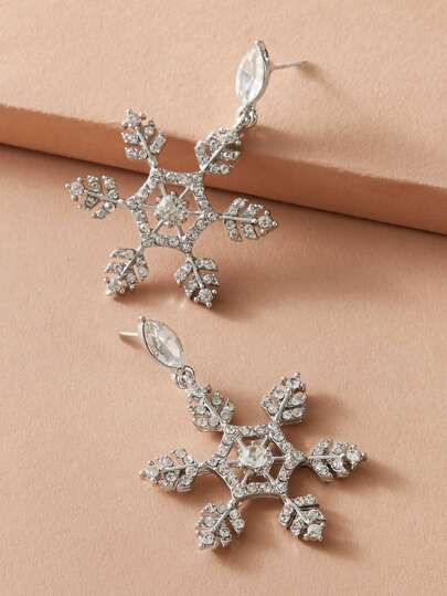 1pair Rhinestone Engraved Snowflake Drop Earrings