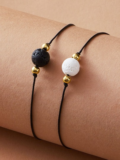 2pcs Stone Decor String Bracelet
