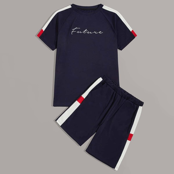 Men Letter Graphic Tee & Track Shorts, Navy