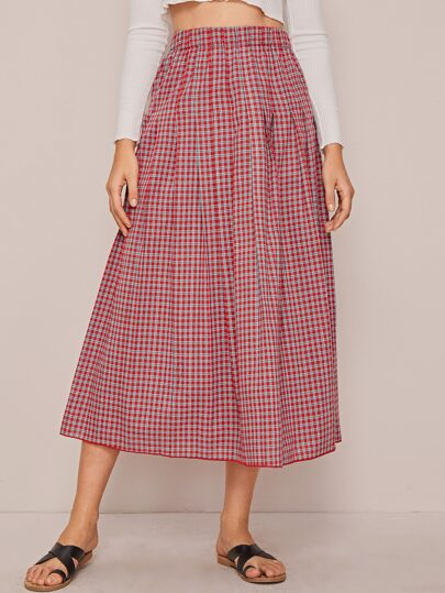 Elastic Waist Plaid Maxi Skirt