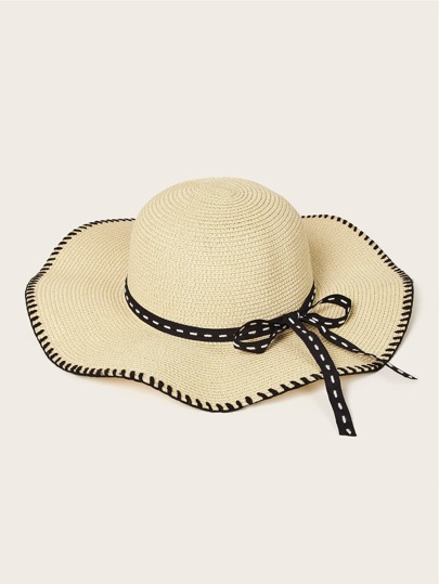 Wave Shape Bow Knot Straw Hat