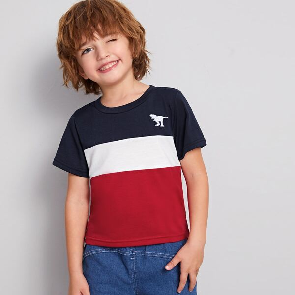 Toddler Boys Dinosaur Embroidery Cut And Sew Tee, Multicolor