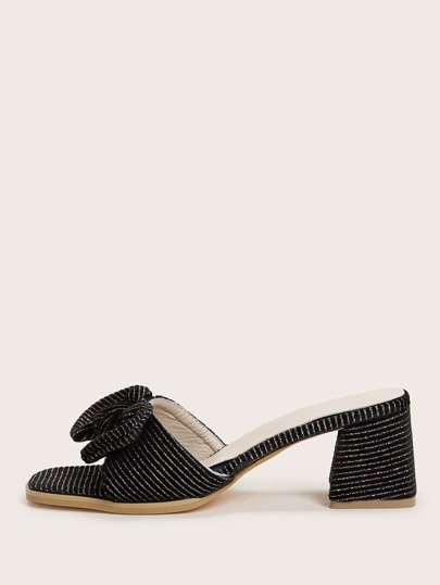 Striped Bow Decor Open Toe Chunky Heeled Mules