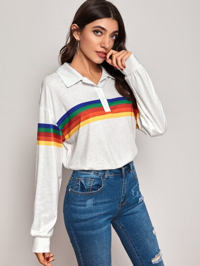 Rainbow Striped Drop Shoulder Polo Tee