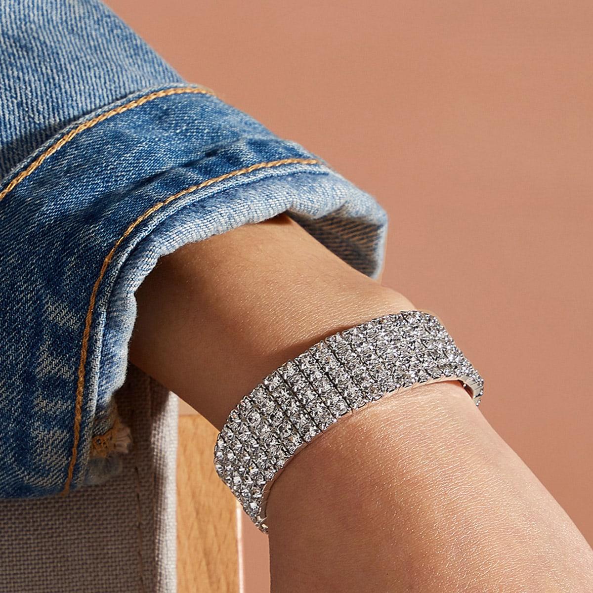 1pc Strass Graviertes Armband