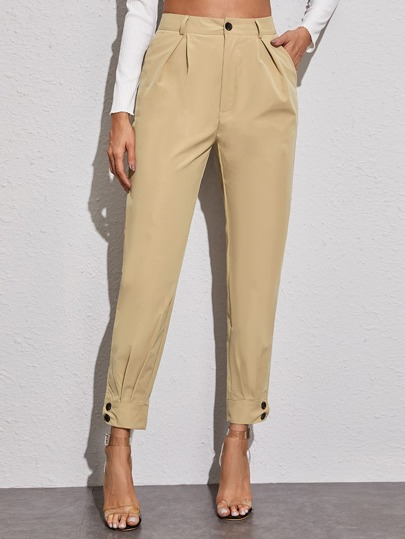 Solid Buttoned Cuff Tapered Pants