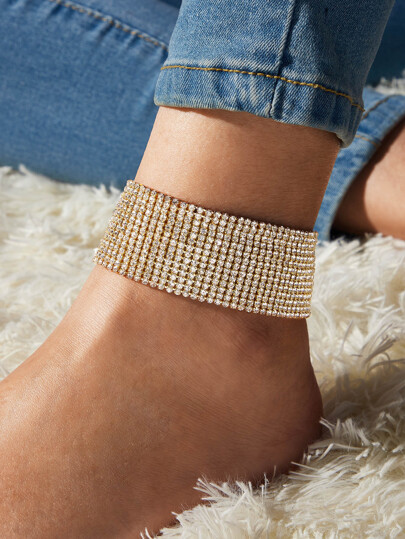 1pc Rhinestone Engraved Wide Anklet