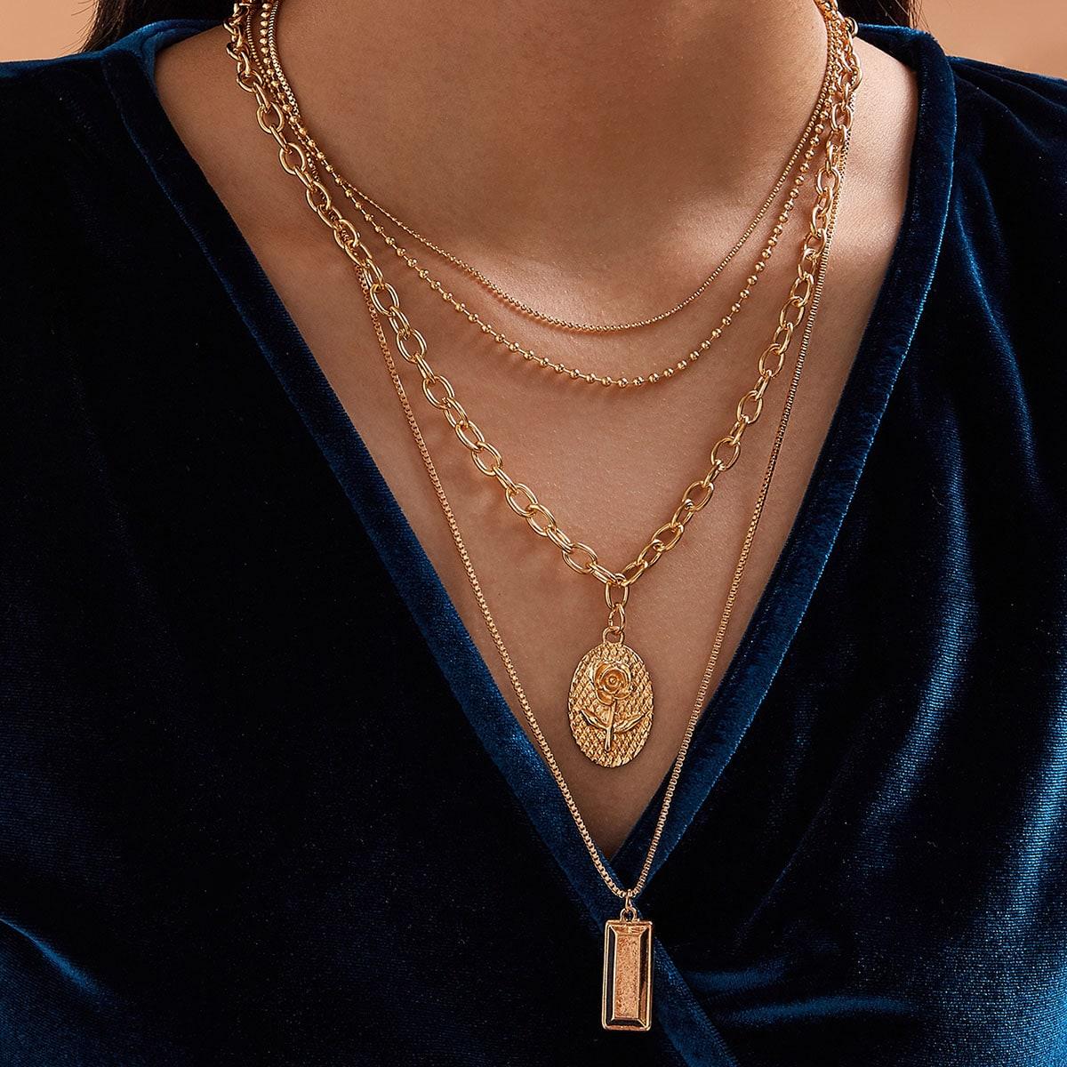 4pcs Rose & Geometric Charm Necklace
