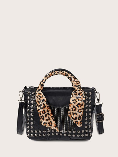 Leopard Twilly Scarf Handle Studded Satchel Bag