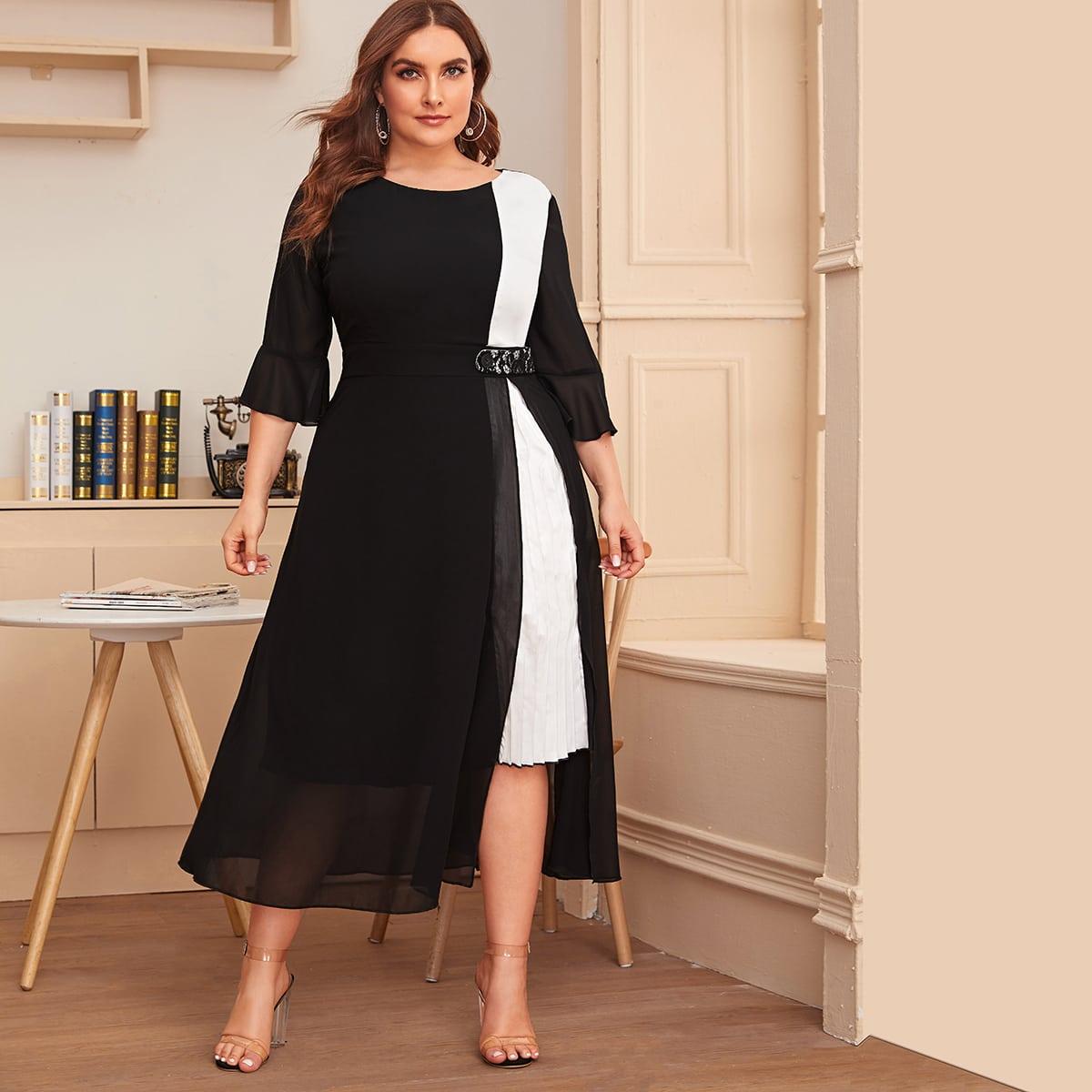 Контрастное сетчатое платье размера плюс