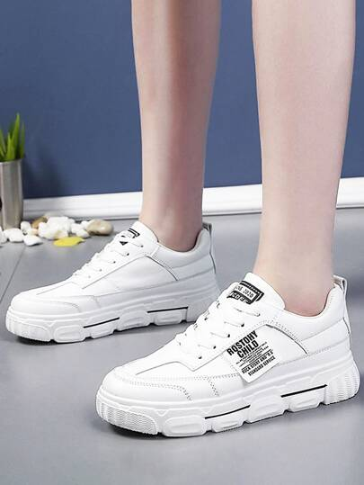 Lace-up Front Letter Graphic Sneakers