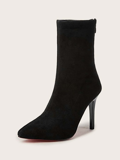Point Toe Zip Back Stiletto Sock Boots