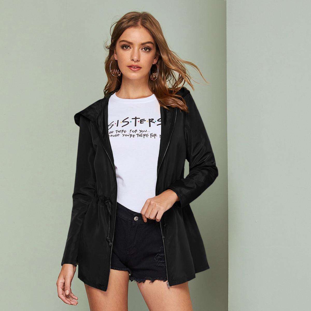 Куртка-ветровка на кулиске с капюшоном и молнией
