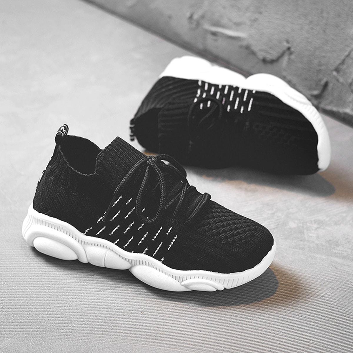 Чёрный в полоску удобный детские кроссовки