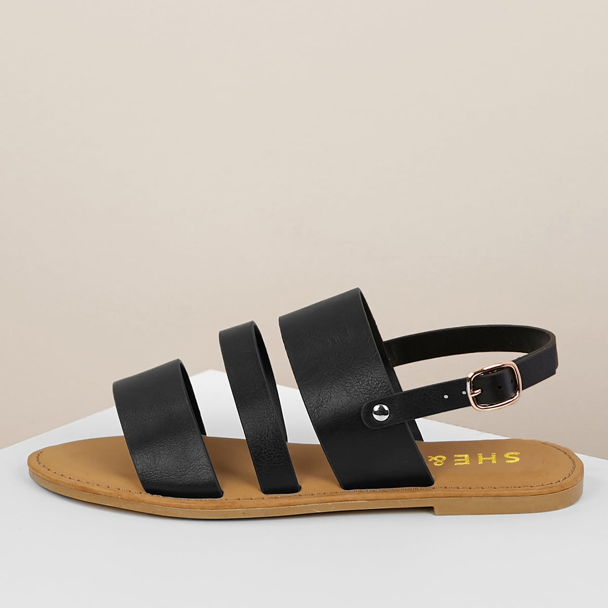 Sandalias de talón abierto de punta abierta con tira triple от SHEIN