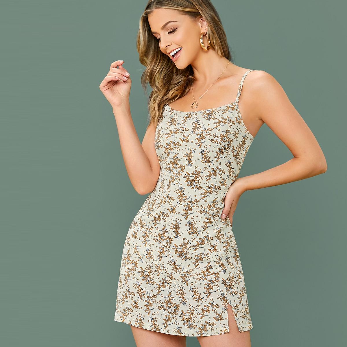 Kleid mit Schlitz am Saum und Blumen Muster