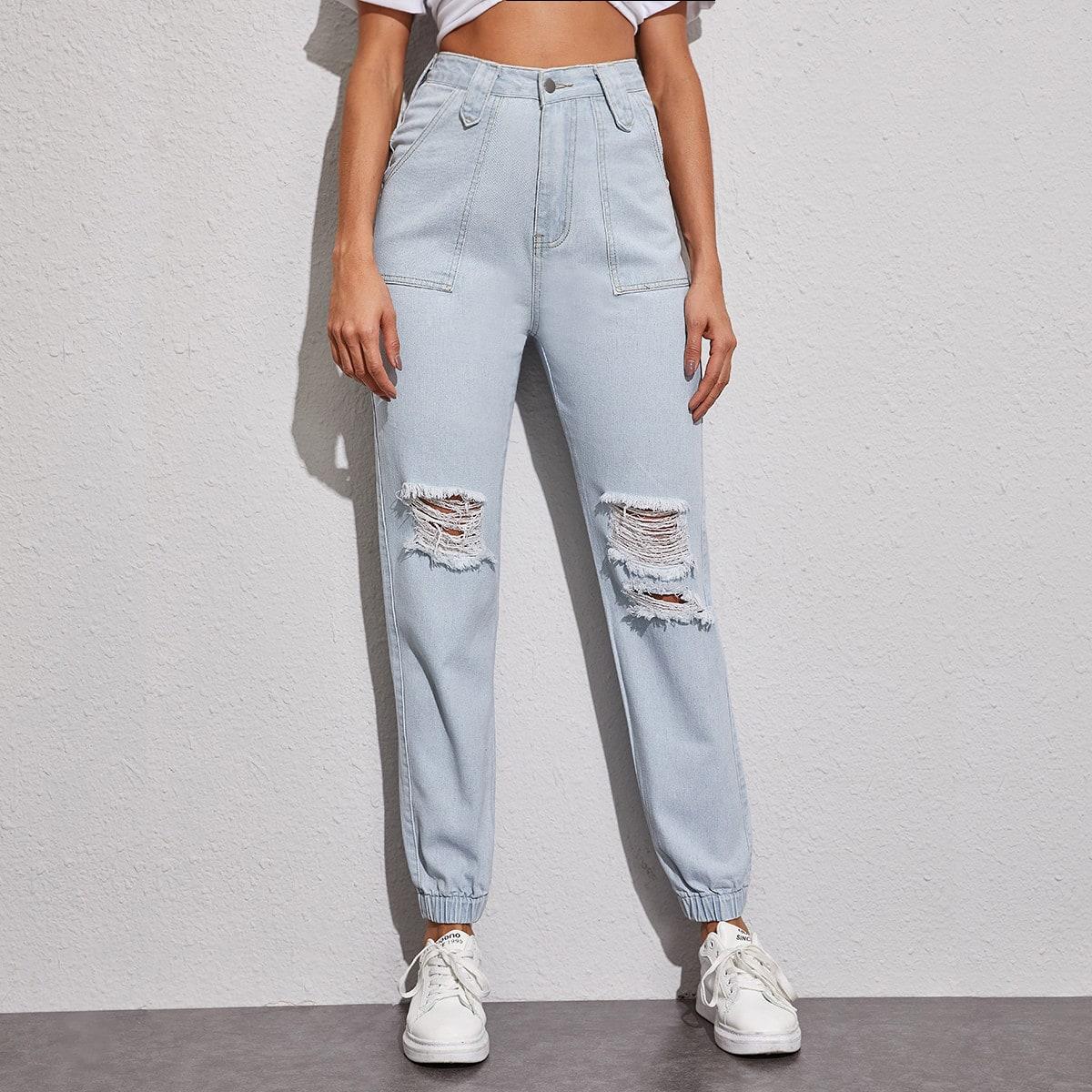 shein Blauw Casual Vlak jeans Knoop