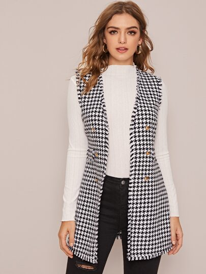 Houndstooth Double Breasted Vest