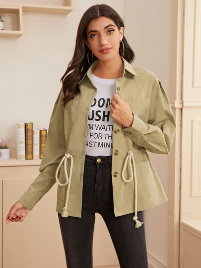 Pocket Front Drawstring Waist Trench Coat