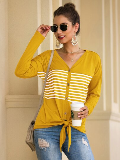 Button Front Knot Hem Striped Tee