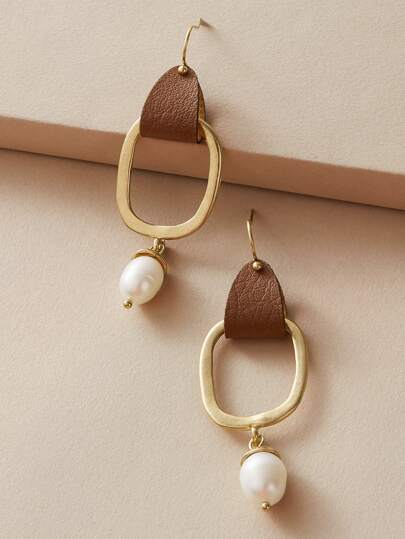 1pair Geometric Decor Pearl Drop Earrings