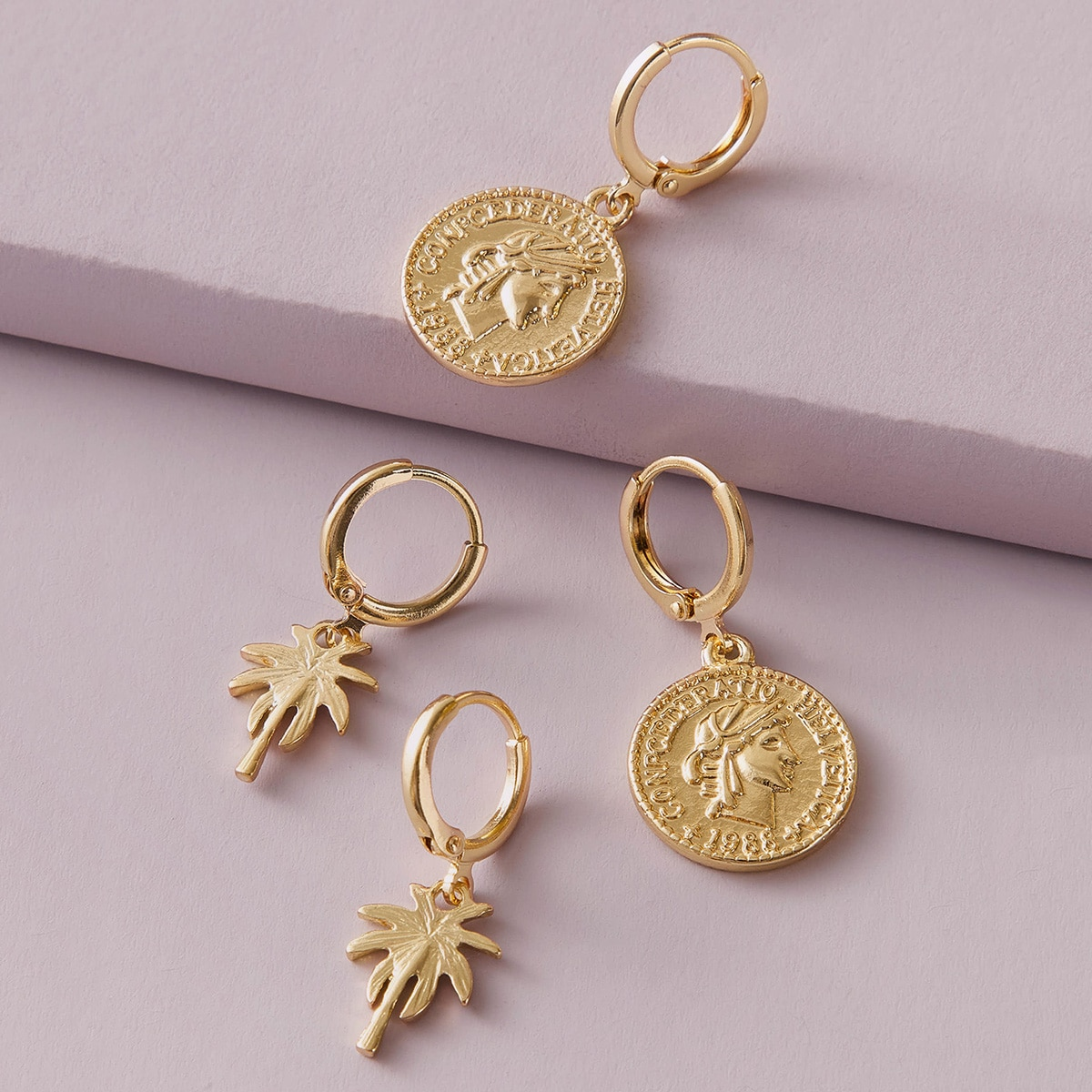 2pairs Coconut Tree & Coin Drop Earrings