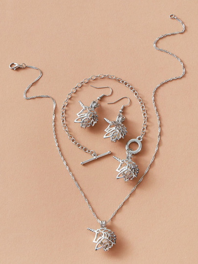 4pcs Faux Pearl Decor Jewelry Set