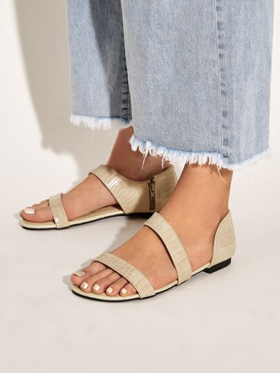 Croc Embossed Side Zip Sandals