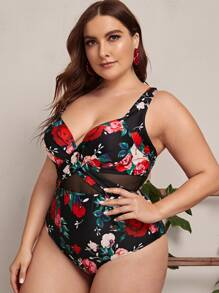 Plus Floral Print Contrast Mesh One Piece Swimwear - $16.00