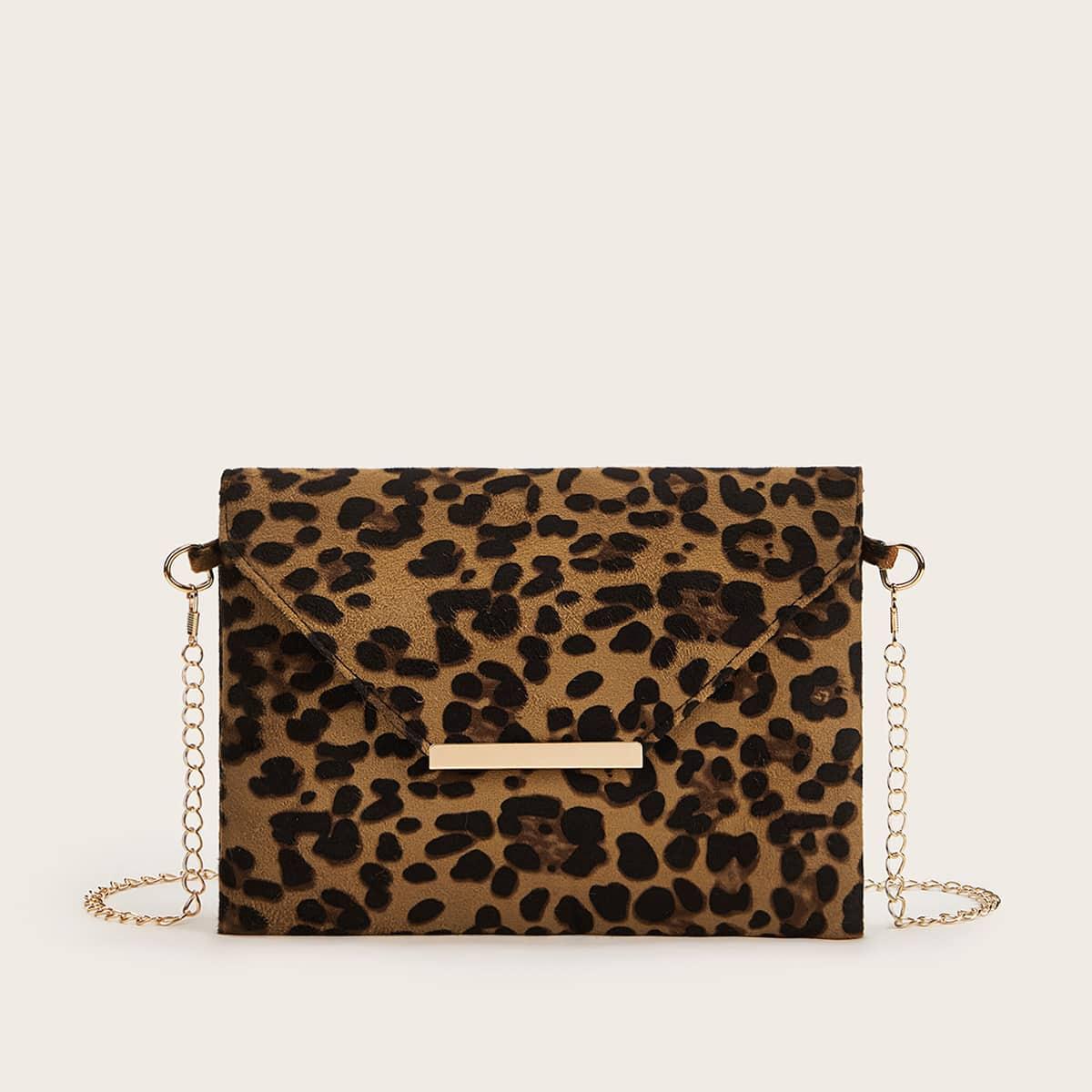 Леопардовая сумка-клатч с ремешком цепи
