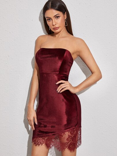 Contrast Lace Strapless Velvet Dress