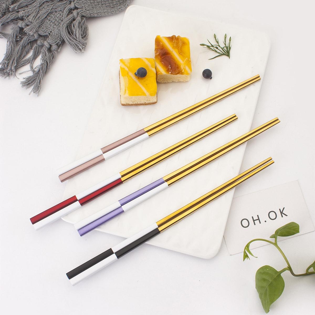 Двухцветные металлические палочки для еды 1 пара