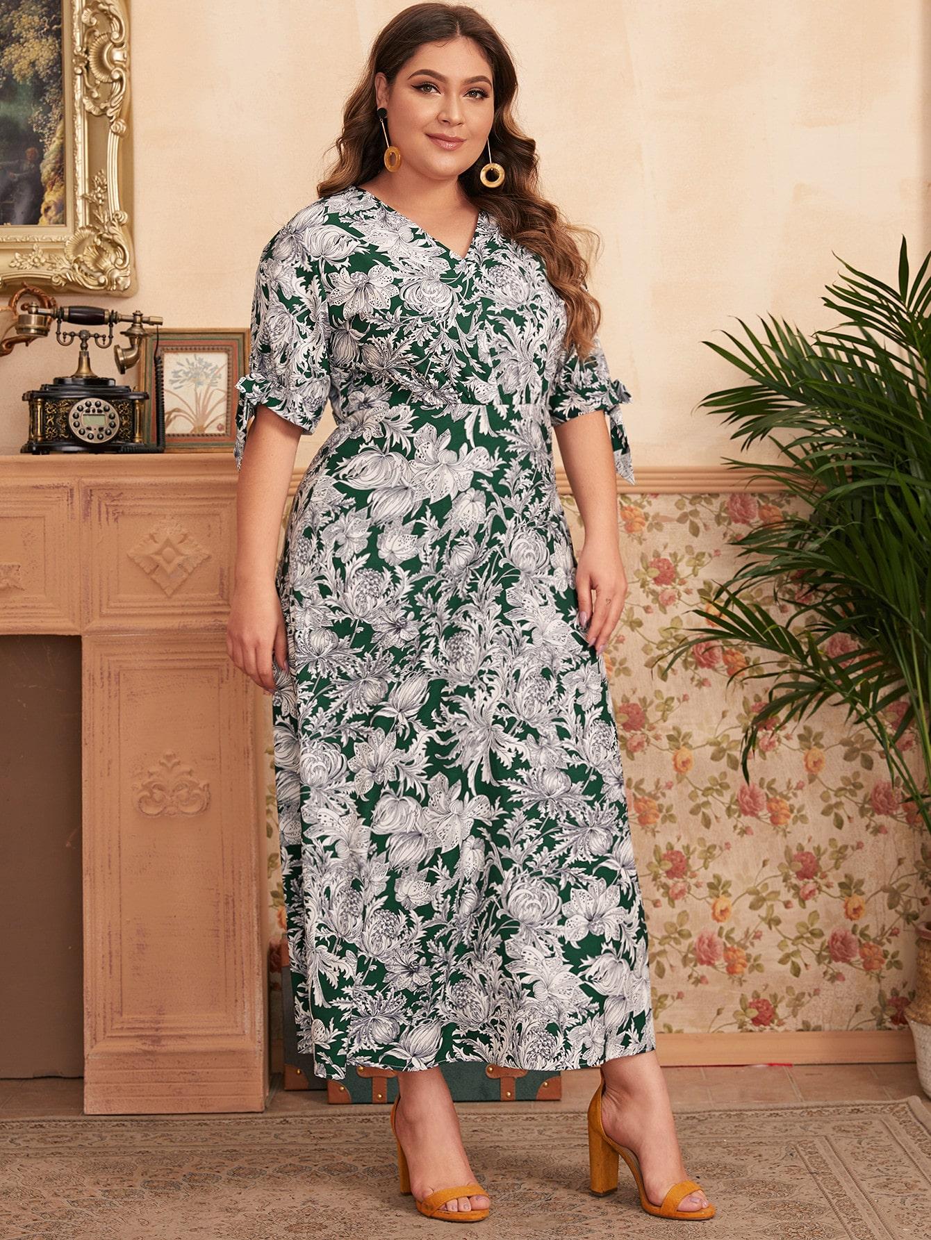 Große Größen - A Linie Kleid mit V Kragen, Blumen Muster ...